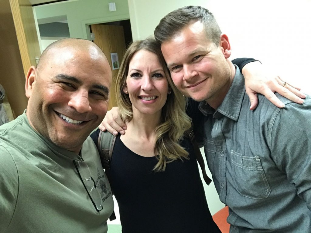 Jeff Bramstedt and Melinda Ray and her husband, James, are shown in a selfie the first time they met in UCHealth's transplant unit.