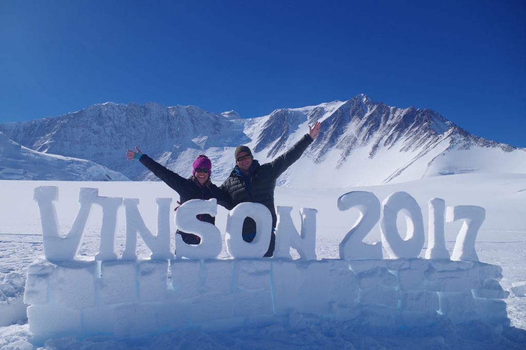 "In this photo, Kim Hess and her brother, Steven, are shown with a sign they created out of iceblocks that said, ""Vinson 2017."" Their expeditions have illustrated the challenges of climbing 'Seven Summits.'"