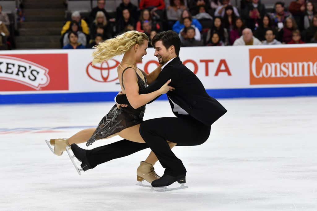 U.S. Olympic team skaters, Madison Hubbell and Zachary Donohue, do a spin together while competing at the U.S. Figure Skating Championships in San Jose, CA.