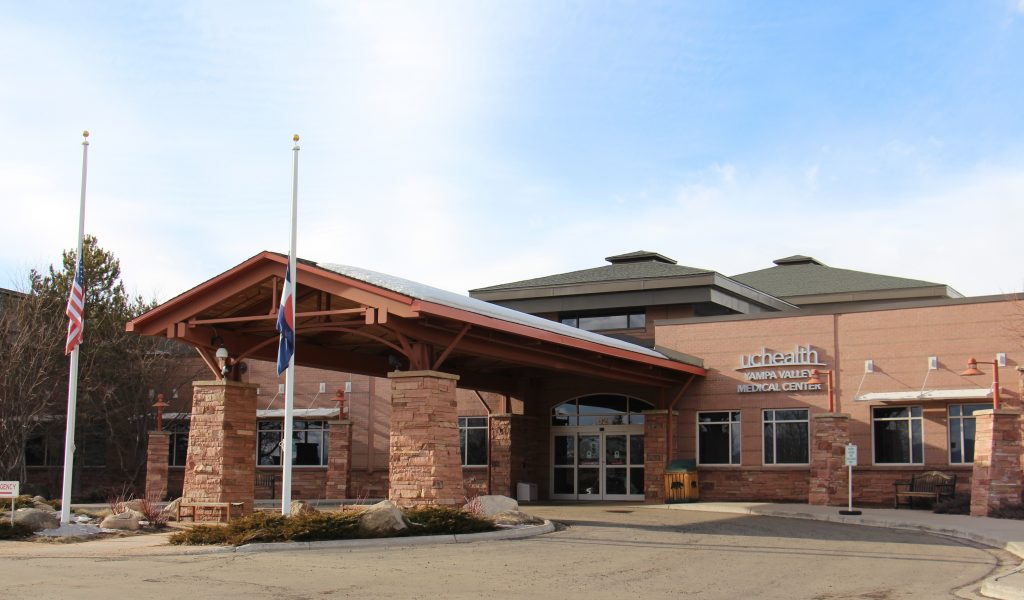 A picture of the front entrance of Yampa Valley Medical Center in Steamboat Springs, Colorado.