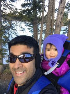 Dr. Jani offers gold-medal care as an orthopedist in Longmont. Here, he hikes with one of his daughters.