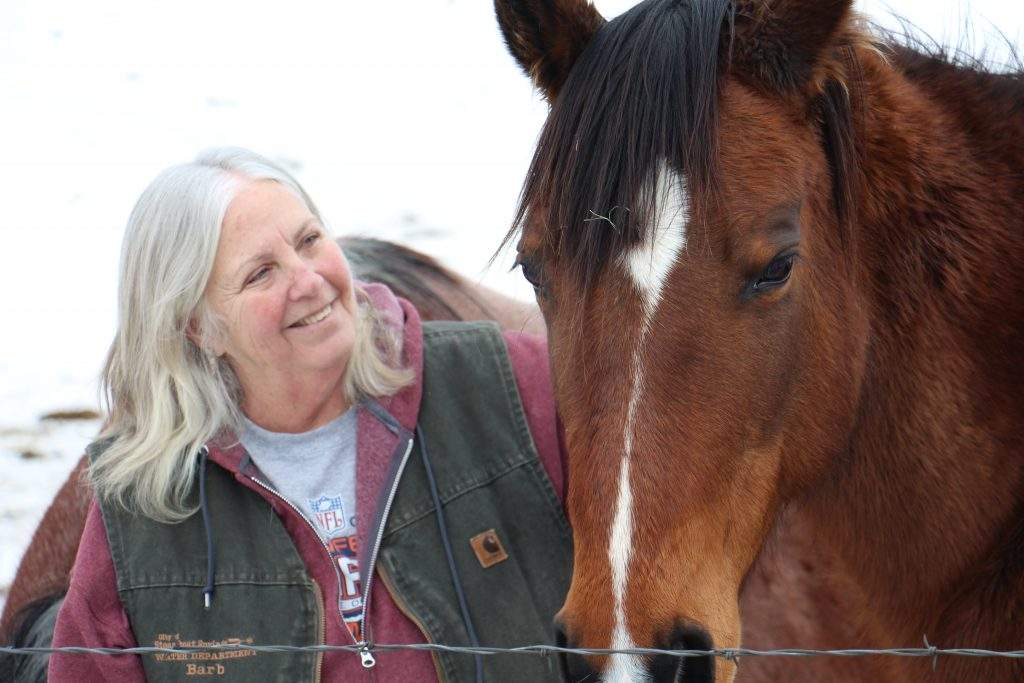 Barb Wheeler looks fondly at Delaney, one of her horses.