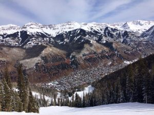 A slope's-eye view of the town of Telluride.