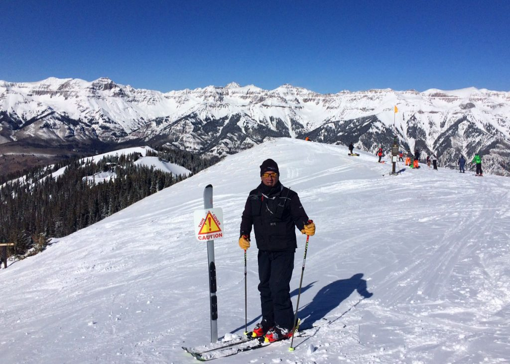 While skiing near Telluride, Jonathan Greenspan enjoys magestic mountain views.