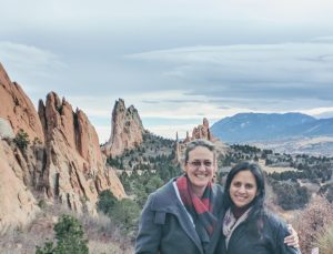Ali and her wife, Aida, pose with rocks at Garden of the Gods in their new home, Colorado Springs.