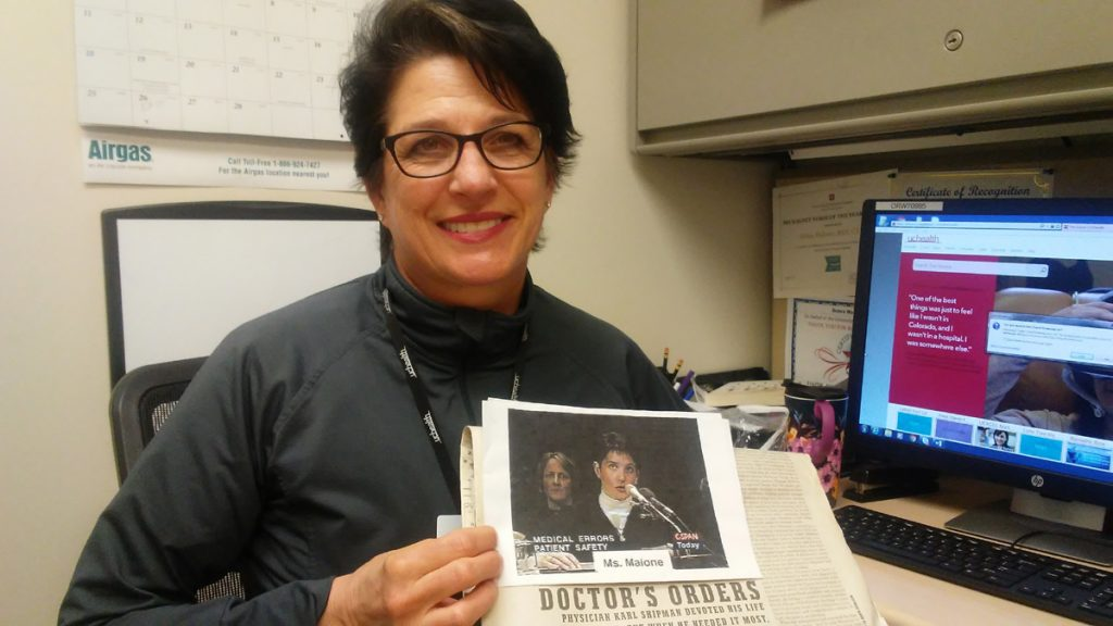 Debra Malone, a UCHealth nurse, is dedicated to preventing sepsis death. Here she holds a clipping of a newspaper article about her dad's death from sepsis.