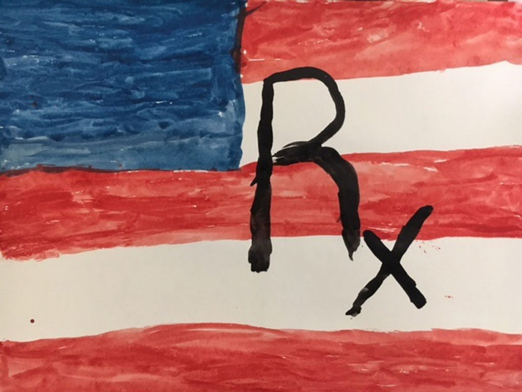 A photo of an American flag, an art project by Tyler Sidebottom