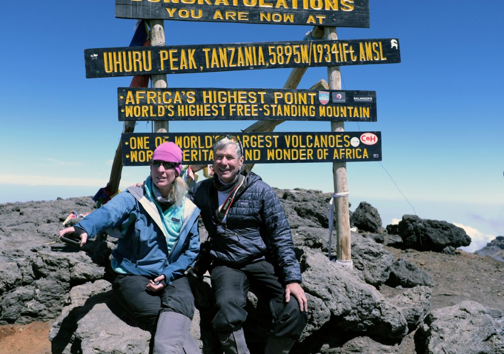 David Brenner with his hiking friend at the summit of Kilimanjaro, during which time he was still battling coronary artery disease.