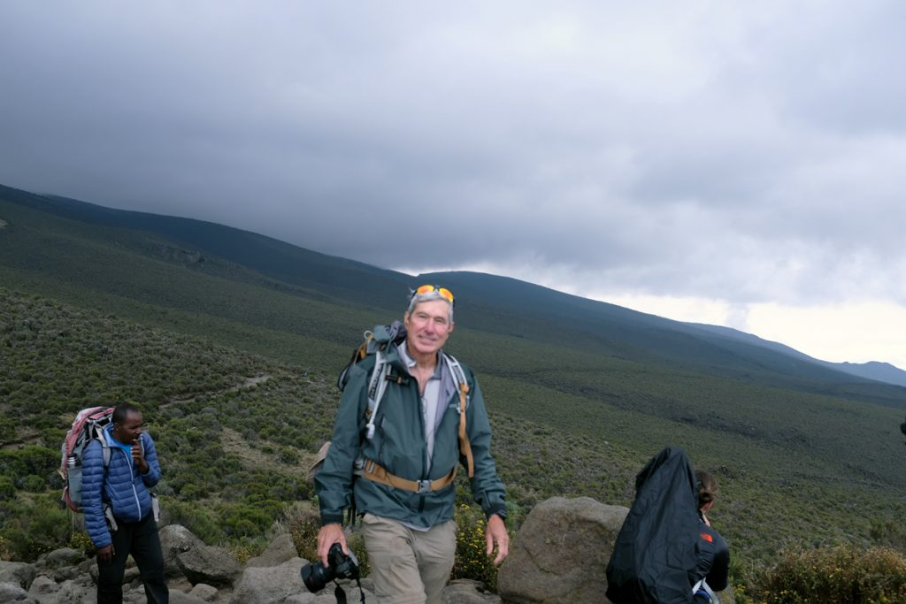 David Brenner hiking Kilimanjaro, during which time he was still battling coronary artery disease.