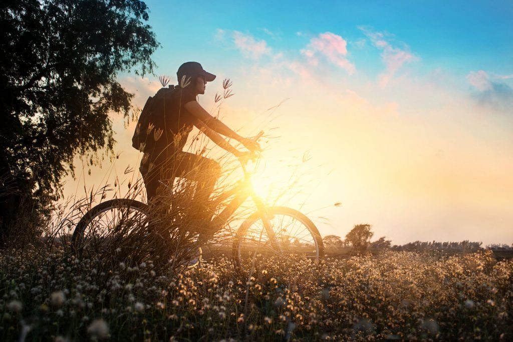 Biker on mountain bike adventure in beautiful flowers nature of summer sunset background