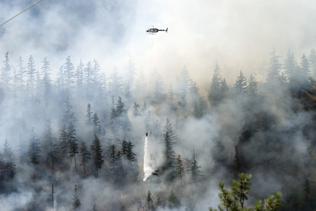 a forest on fire shows smoke in the air and a firefighting helicopter dropping water