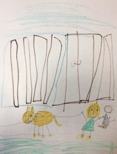 Fiona's drawing of her and her mother walking a cat that she drew for her nurses.