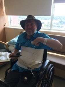 Doug Zirkle in his hospital room on his last day in the hospital after a devastating car crash.