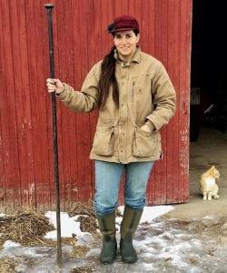 Kay Schrock holds a digger bar