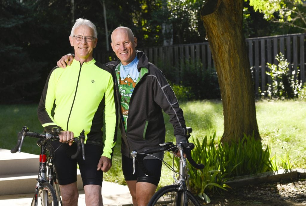 Jim Eastman, left, and Scott La Point meet for a training ride before heading to Utah next month for the Transplant Games of America. They are posing with their road bikes. Photo by Cyrus McCrimmon for UCHealth.