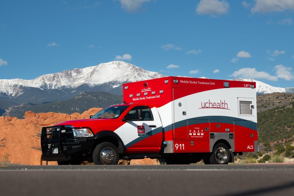 red ambulance that serves as a mobile stroke unit of which a resent study shows its benefits.