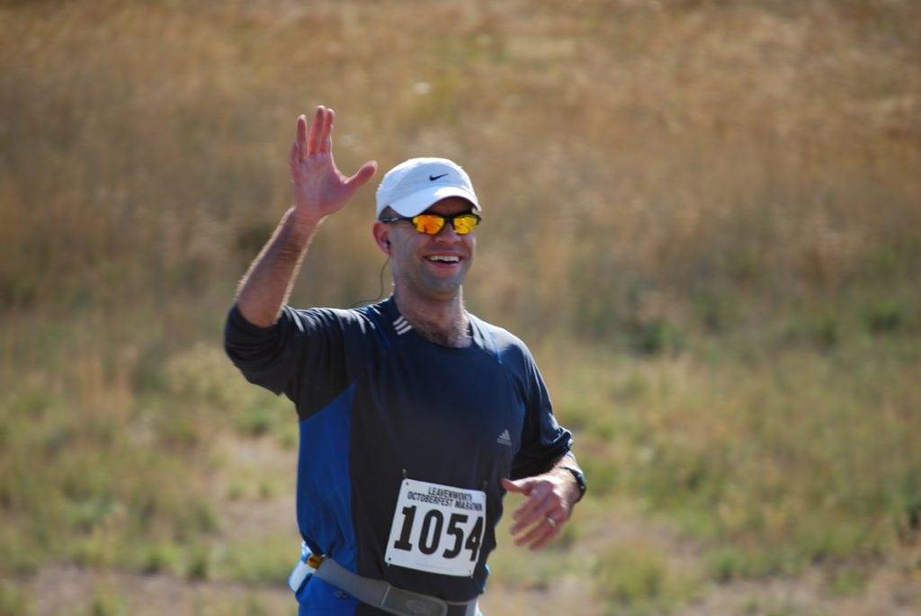 Mike Moyles running in a marathon