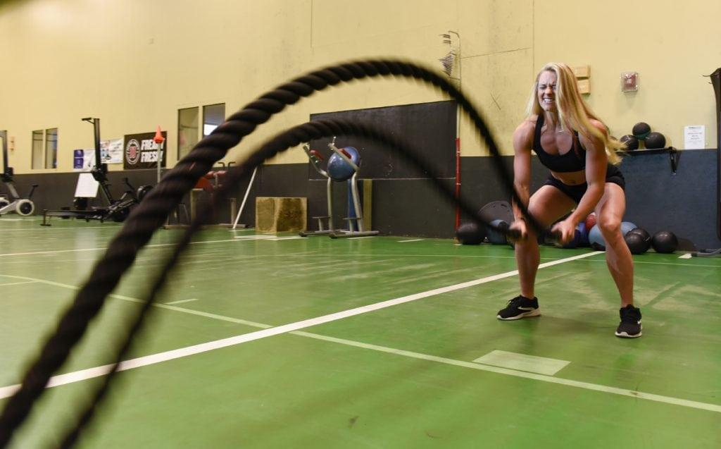Cassandra Witt works with ropes in the gym
