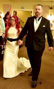 James Morales walks his daughter down the aisle