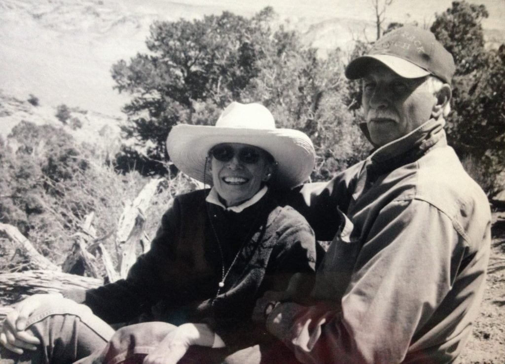 Jim Bailey and Jane Howell are shown outdoors in this black and white photo.