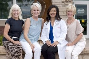 From left, Lane Oesterle-Miller, Lynn Oesterle-Zollner, UCHealth internal medicine physician Dr. Cathy Ow and Jill Hultin. These three sisters have been seeing Dr. Ow for more than a decade. Photos by Joel Blocker, for UCHealth.
