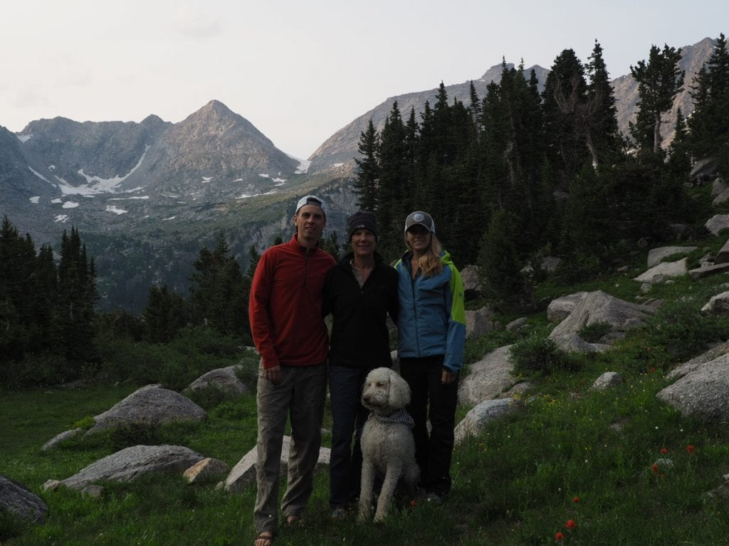 A family photographed in Wyoming's Wind River Wilderness