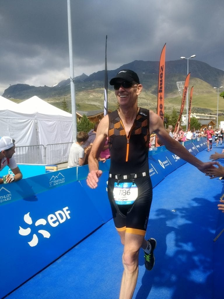 Dr. Kevin O'Toole runs a triathlon in the French Alps.