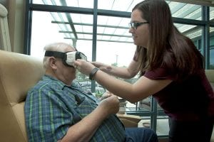 patient using virtual reality in health care