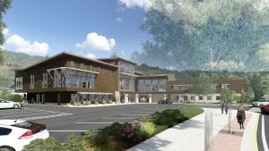 This is a rendering of Old Town Hot Springs' renovation and expansion.