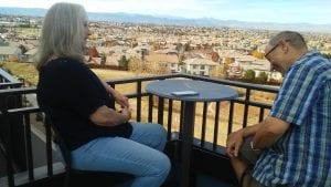 Bob and Barbara Laugh on balcony at Lone Tree.