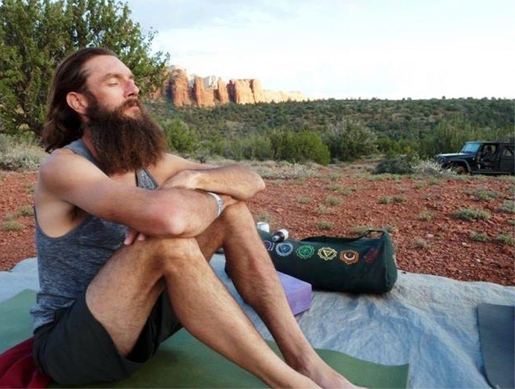 Andy Bonnett meditating near his home in Sedona, Arizona.