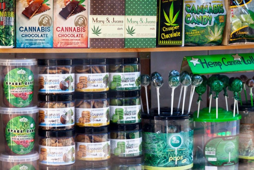 a shelf full of marijuana candy