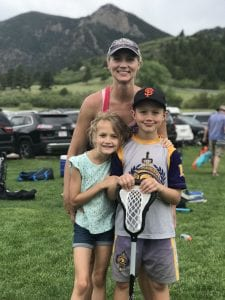 Erin with Rylan and Dylan at a lacrosse tournament at the Air Force Academy.