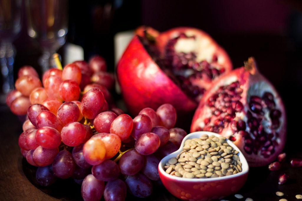 For good luck and good fortune in the new year, enjoy some grapes, pomegranates and lentils.