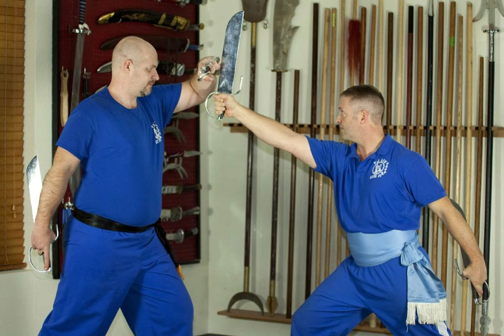 dan doing kung fu with his instructor.