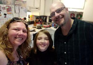 family in their kitchen
