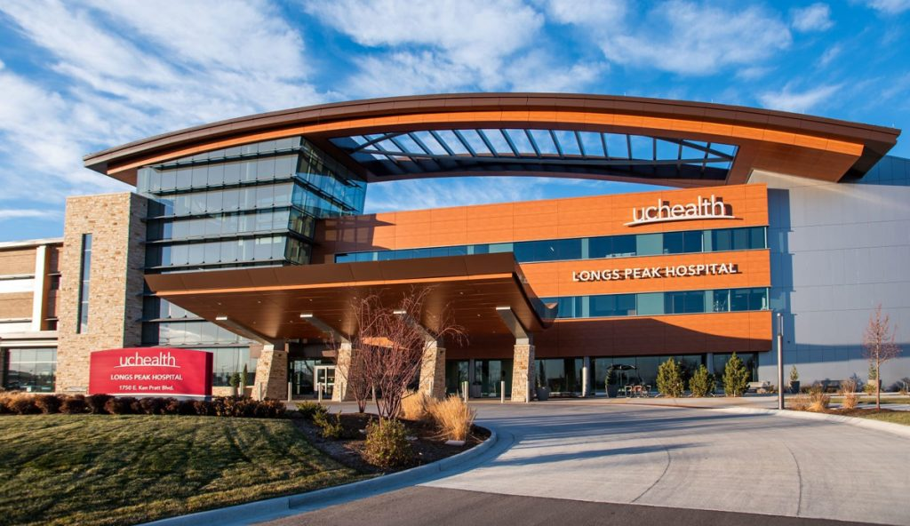 Photo of exterior of UCHealth Longs Peak Hospital's front entrance where ECT for depression is now being offered..
