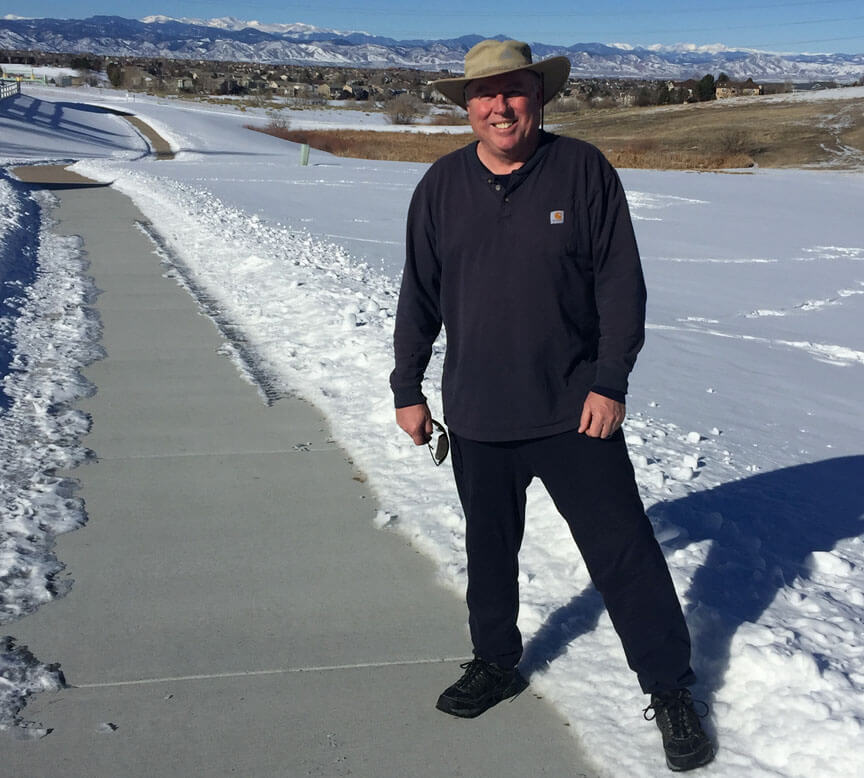Jim Leuenberger on the trail near his and wife Susan's home in January, where they walk several times a week.