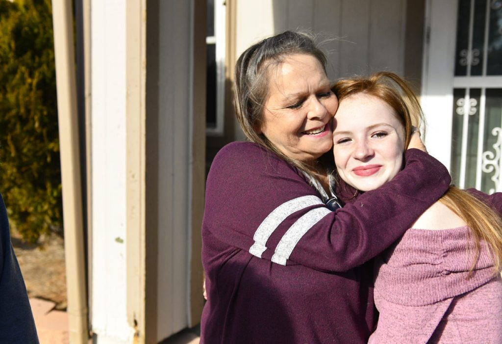 Connie Parke poses with one of her granddaughters.