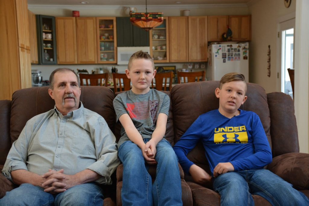 Terry Stauffer, with his grandsons, Gracen and Grady.