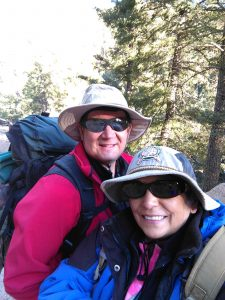 A photo of Lydia and Kurt Friese backpacking.