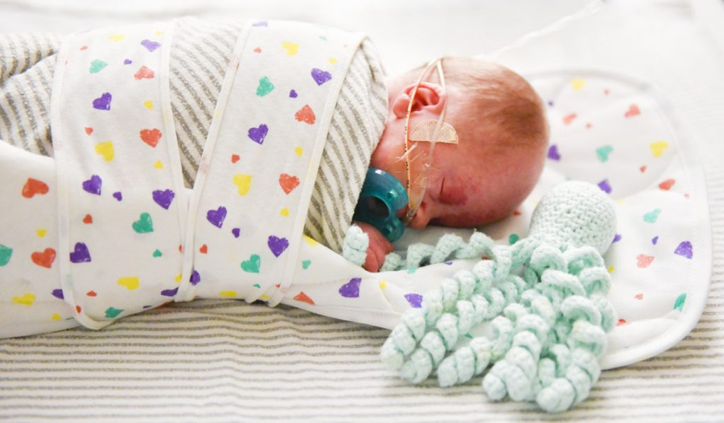 A preemie baby grabs onto an octopus tentacle that a volunteer knitted for preemie babies.