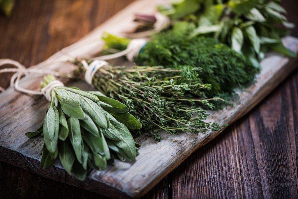 Fresh herbs on a platter