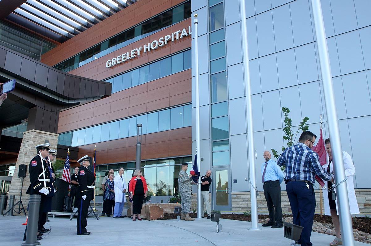 flag raising ceremony at Greeley Hospital Opening