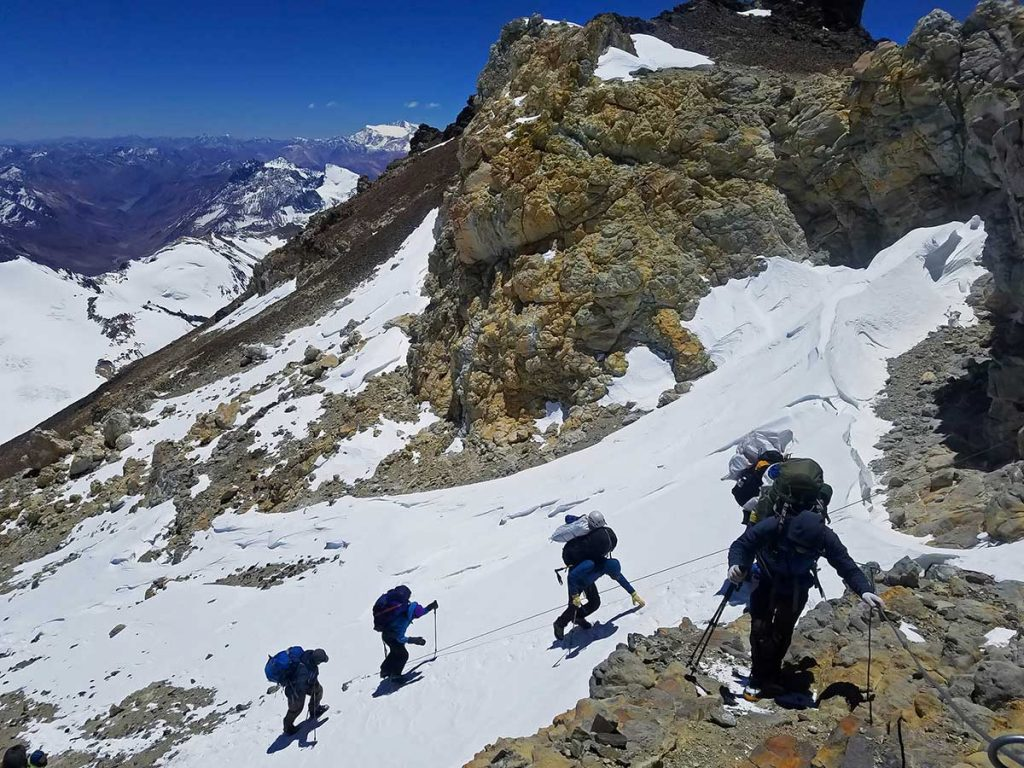 final ascent of Aconcagua in Argentina