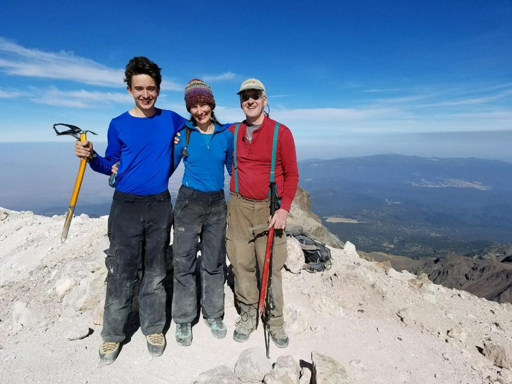 The Boardman family on the summit of Iztaccihuat, a volcano in Mexico