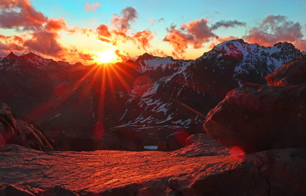 Sunset from Aconcagua in Argentina.