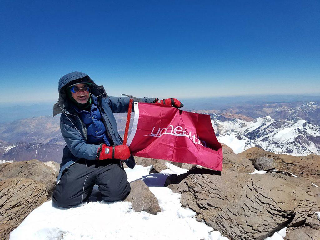 Joe Boardman on the summit of Aconcagua