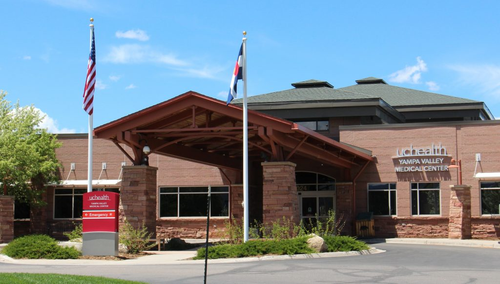 This is a photo of the front entrance of UCHealth Yampa Valley Medical Center.