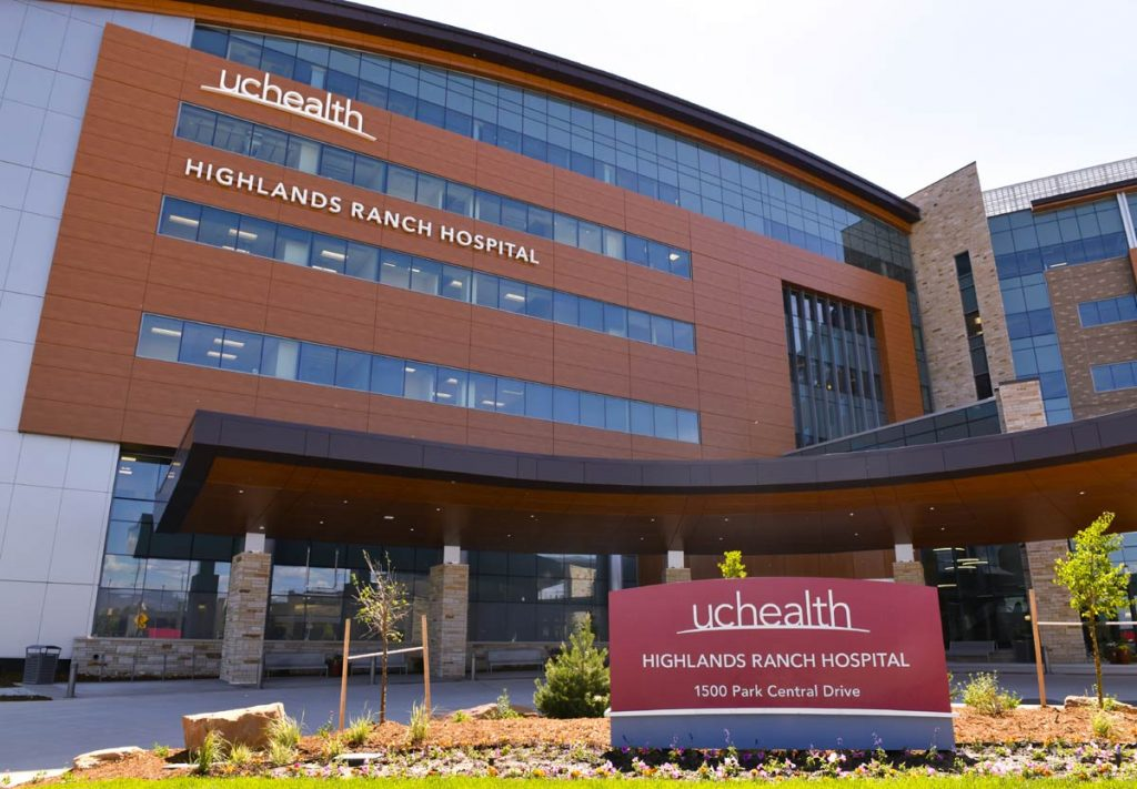 A photo of UCHealth Highlands Ranch Hospital, which is now offering drive through testing fro COVID-19 and antibodies.